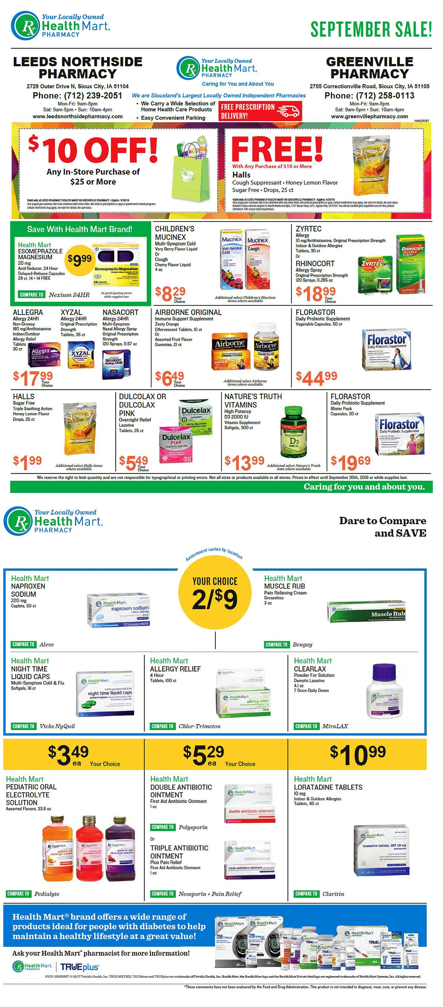 Leeds Northside Pharmacy & McKesson Savings August Sale Specials
