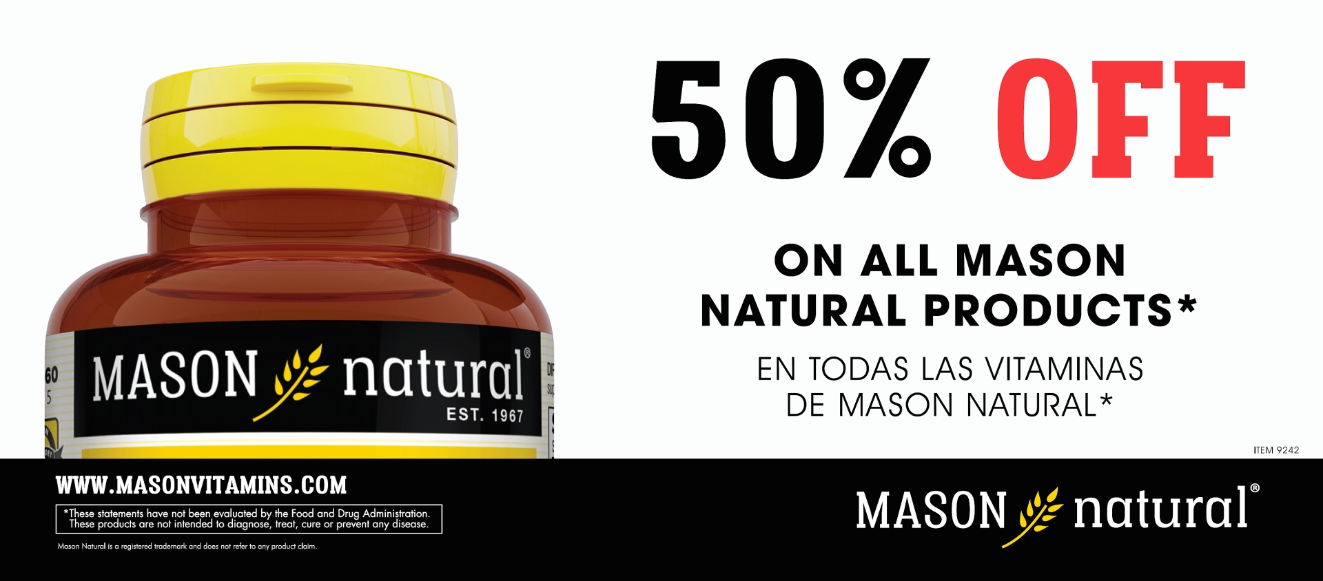 MasoN Special 50% Savings On All Mason Natural Vitamins